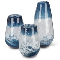 "Set of 3 Indigo Blue and White Indoor Artisanal Glass Flower Vase 14.5"""