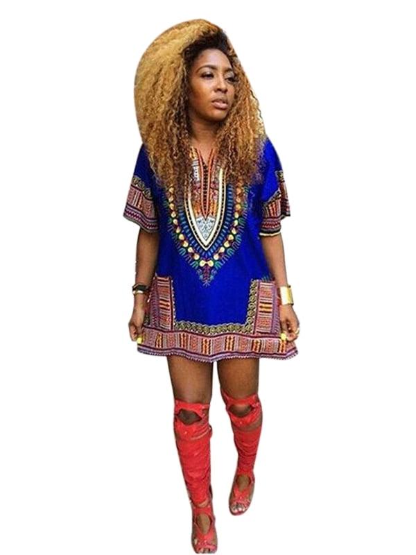 Sweetsmile Women African Festival Dashiki Dress Kaftan Boho Hippe Gypsy Festival Tops Party Dress Clearance