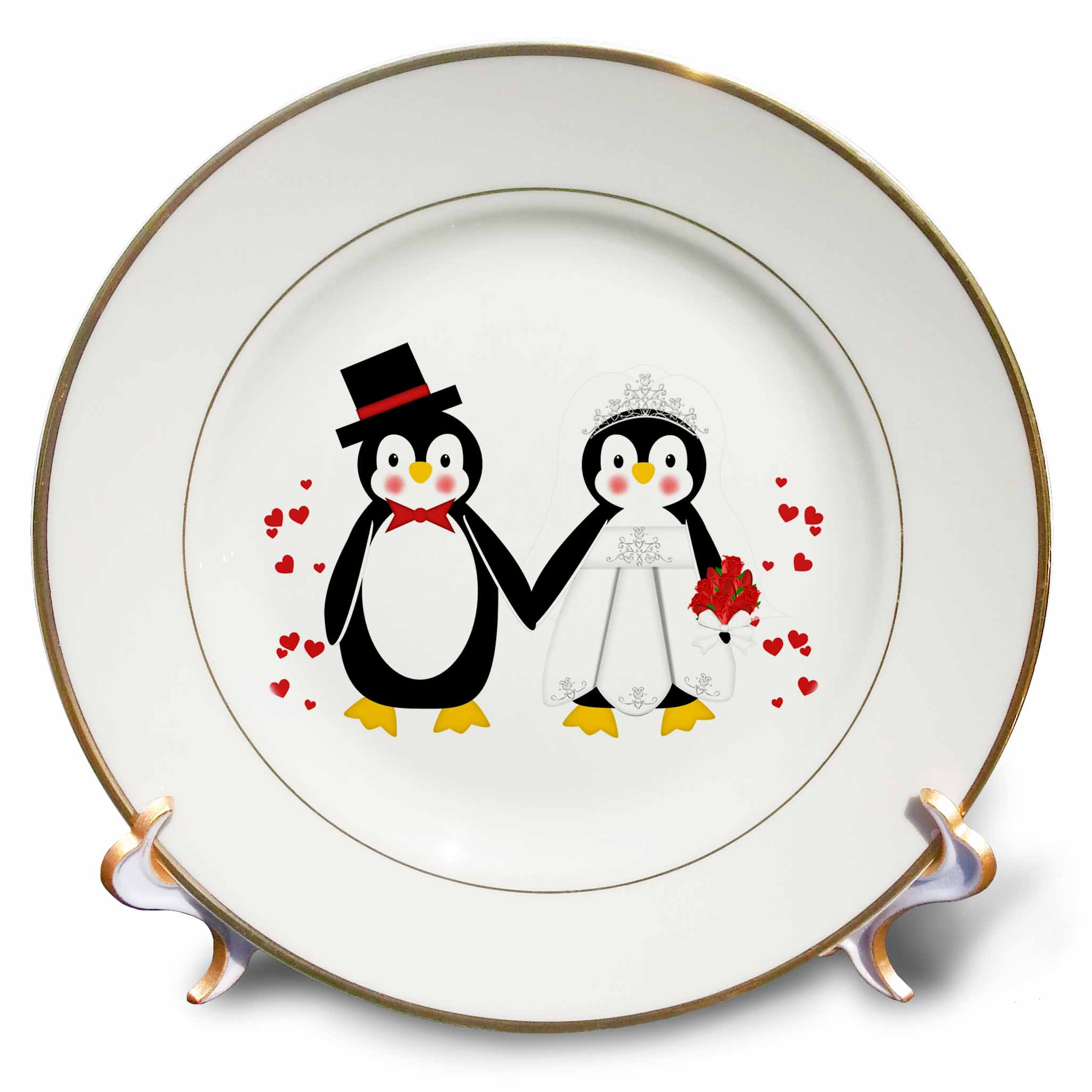 3dRose Cute Red Hearts Penguin Bride and Groom Wedding Couple, Porcelain Plate, 8-inch