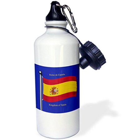 3Drose The Flag Of Spain On A Blue Background With Kingdom Of Spain In English And Spanish    Sports Water Bottle  21Oz