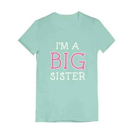Tstars Girls Big Sister Shirt Lovely Best Sister I'm a Big Sister B Day Gifts for Sister Siblings Gift Cute Graphic Tee Funny Sis Girls Fitted Kids Child Birthday Gift Party T Shirt
