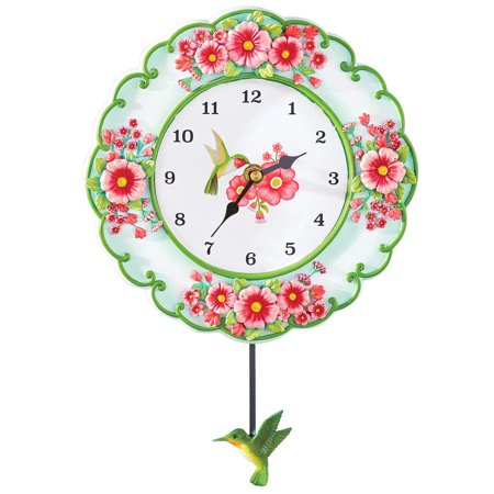 Colorful Hummingbird and Garden Hand-Painted Hanging Wall Clock with Swinging Pendulum - Floral Accent Home Décor for Any Room