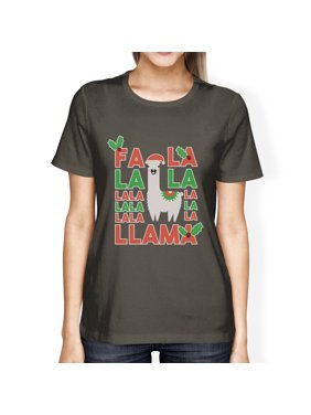 Falala Llama Womens Cool Grey Crewneck Cotton Christmas Tee