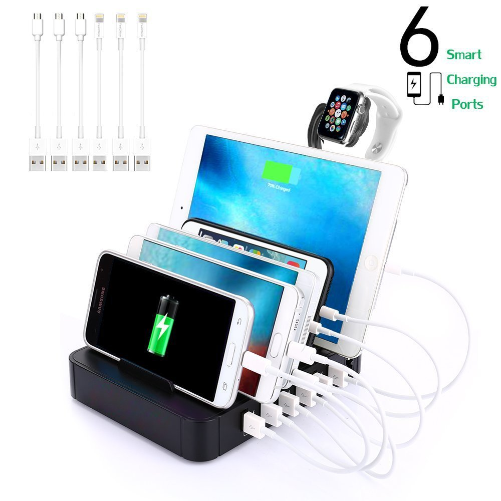 6-Port USB Charging Station Dock Stand & Organizer, Multi Port Charger Station, Universal Cell Phone Docking Station for iPhones, Samsung Galaxy, iPad, Tablets, Apple Watch, Smartphones