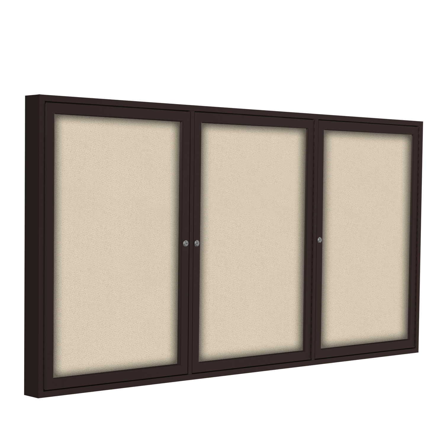 PB33672F-90 Ghent 3 Door Enclosed Fabric Bulletin Boards with Bronze Frame Wall Mounted TackBoard, 3'H x 6'W, Beige