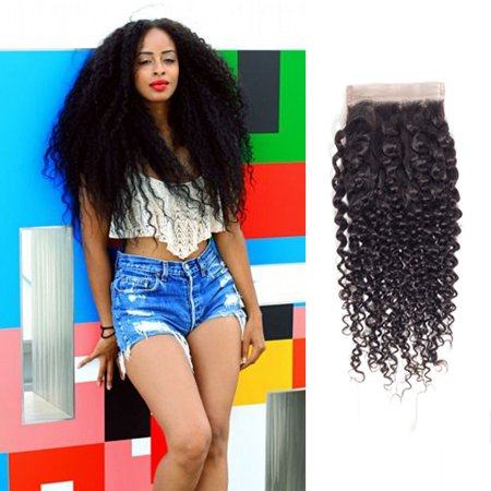 "YYONG Brazilian Curly Wave Closure 4X4 Virgin Human Hair Bleahced Knots Free Free Part Top Closure, 18"""