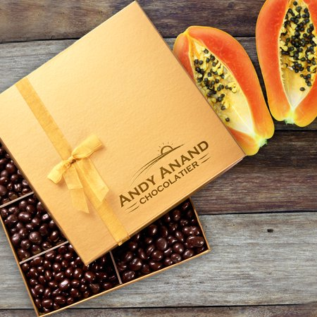 Andy Anand Premium Vegan Dark Chocolate Smothered Papaya in Gift Box, All-Natural Gourmet Christmas Holiday Corporate Food Gifts & Greeting Card, Valentines, Anniversary Birthday Get Well Baskets 1lbs ()