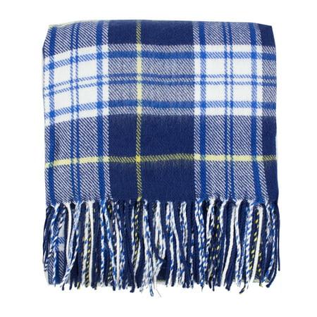 Cozy Tartan Plaid Design Tassel Throw Blanket - 50