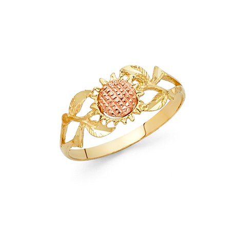 14k Two Tone Italian Solid Gold 8mm Sun Flower with Tree Branches & Leaves Band Ring Size 5.5 Available All (Two Tone Leaves)