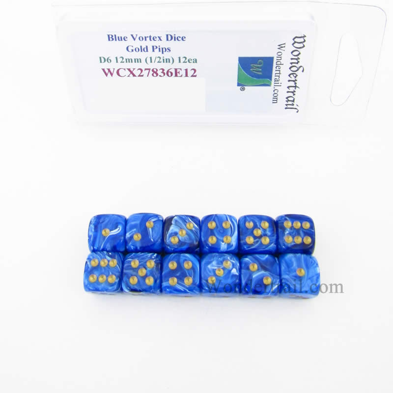 Blue Vortex Dice with Gold Pips 12mm (1/2in) D6 Pack of 12 Wondertrail