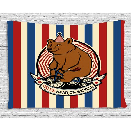Mascot Multi Stripes (Bear Tapestry, Circus Bear on Bicycle Carnival Theme Cute Mascot with Hat on Striped Backdrop, Wall Hanging for Bedroom Living Room Dorm Decor, 60W X 40L Inches, Ruby Blue Brown, by Ambesonne )