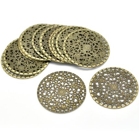 48 Antique Brass Filigree Flower Focal Components 41mm 1-5/8 Inch Findings