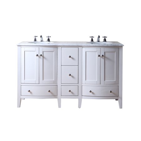 Stufurhome 60 Inch Locke White Double Sink Vanity With Carrara
