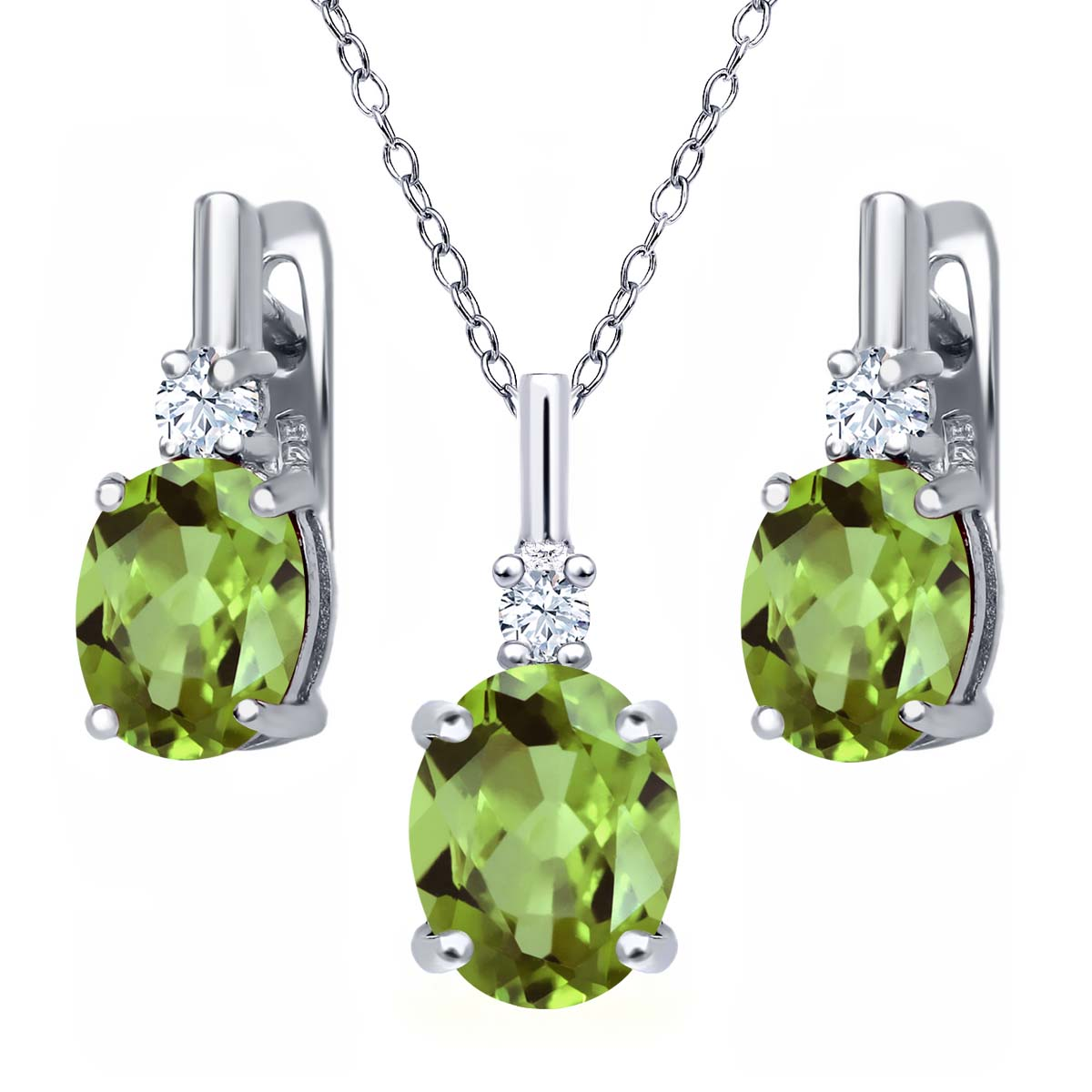 4.13 Ct Oval Green Peridot White Topaz 925 Sterling Silver Pendant Earrings Set by