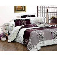 Swanson Beddings May 5-Piece 100% Cotton Bedding Set: Duvet Cover, Two Pillowcases and Two Pillow Shams (Burgundy, Queen)