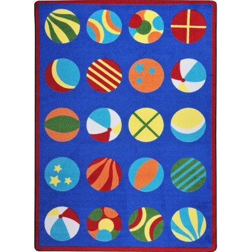 Joy Carpets Kid Essentials Have a Ball Blue Area Rug