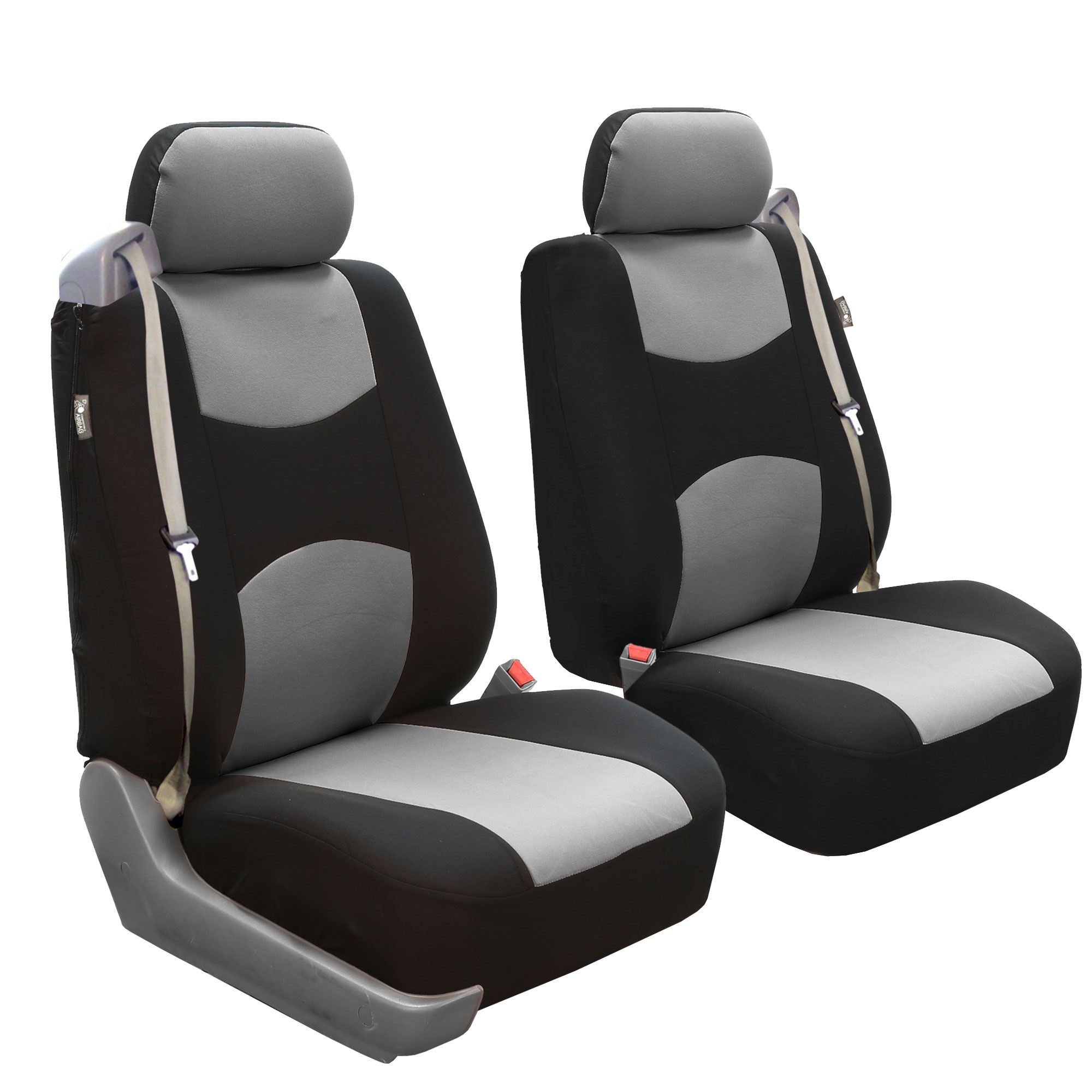FH Group Flat Cloth Airbag and Built-In Seatbelt Compatible Low Back Seat Covers, Pair, Gray and Black