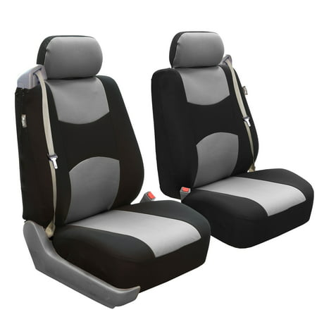FH Group Flat Cloth Airbag and Built-In Seatbelt Compatible Low Back Seat Covers, Pair, Gray and