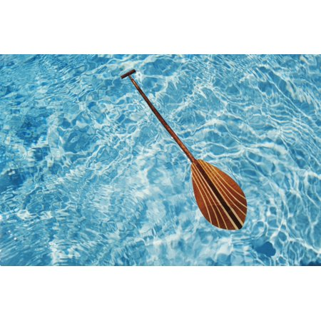 Overhead View Of Paddle Floating On Surface Of Turquoise Water Canvas Art   Joss Descoteaux  Design Pics  34 X 22