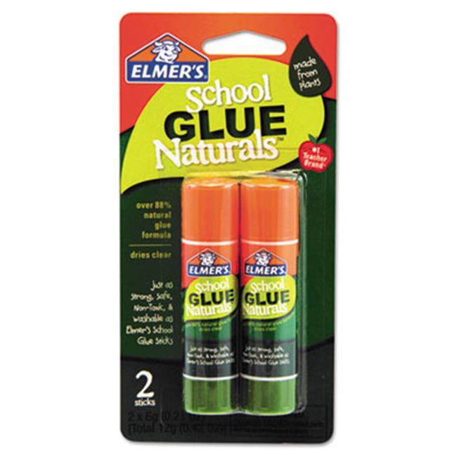 Elmers E5044 School Glue Naturals  Clear  0. 21 oz Stick  2 per Pack