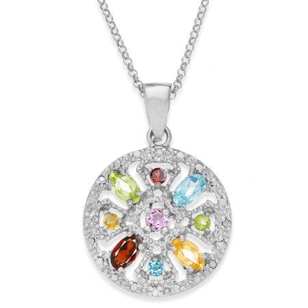 Sterling Silver Multigemstone/ Diamond Accent Medallion Necklace