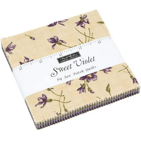 "Sweet Violet Moda Charm Pack by Jan Patek Quilts; 42 - 5"" Precut Fabric Quilt Squares"