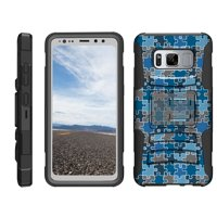 TurtleArmor ® | For Samsung Galaxy S8 Active G892 [Hyper Shock] Rugged Dual Layer Hybrid Armor Kickstand Holster Belt Clip Case - Blue Puzzle Pieces
