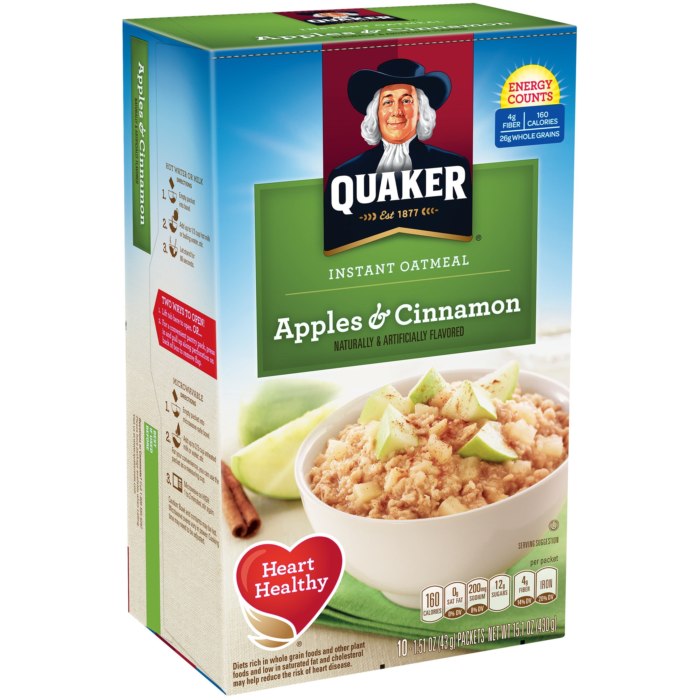 Quaker Instant Oatmeal, Apples & Cinnamon, 10 Packets