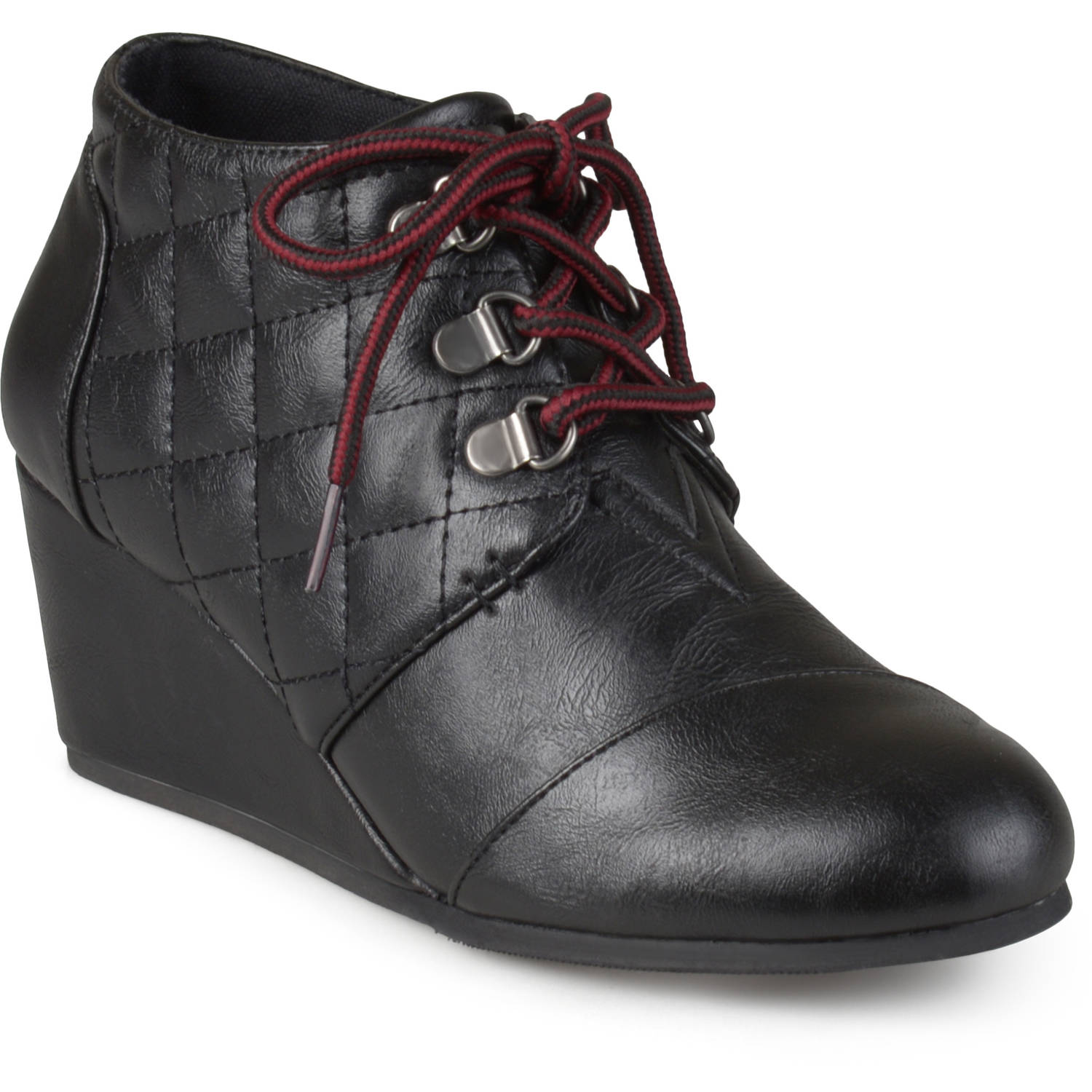 Brinley Co. Womens Lace-up Quilted Wedge Booties