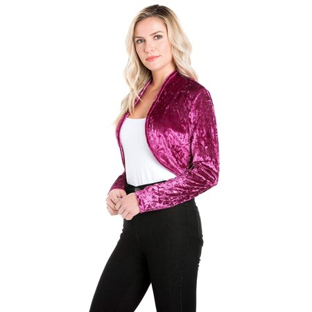 Fashion Secrets Women`s Collarless Open Front Velvet Bolero Shrug Cardigan Cropped Jacket (Large, Mauve)