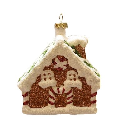 3 75   Merry   Bright White And Brown Glitter Shatterproof Gingerbread House Christmas Ornament