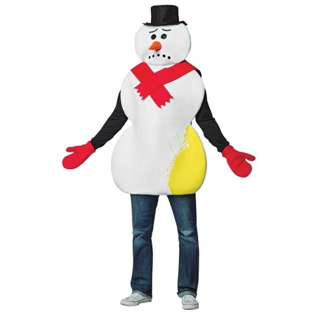 Yellow Snowman Men's Adult Costume, One Size, (40-46) - Cheap Snowman Costume