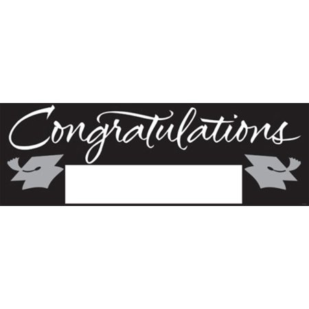 Pack of 6 Black and Silver Giant Graduation Party Banners 5'