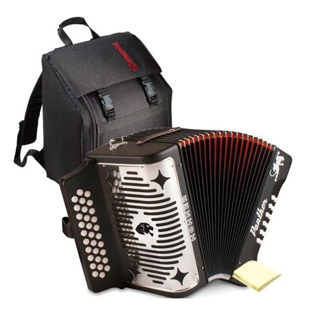 Irish Button Accordion (Hohner 3100GB Panther Diatonic Button Accordion in the Key of G in Black Finish with Gig Bag and Accordion Polishing)