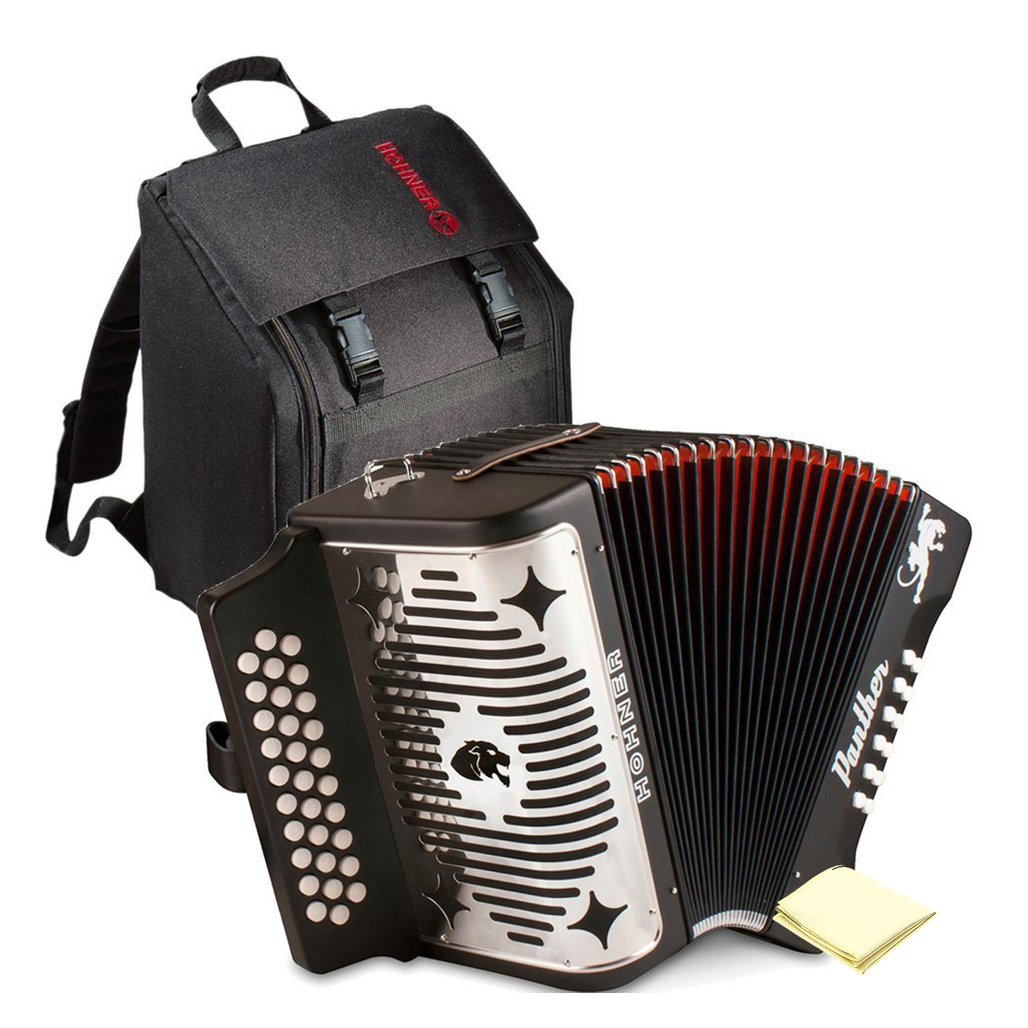 Hohner 3100GB Panther Diatonic Button Accordion in the Key of G in Black Finish with Gig Bag and Accordion Polishing Cloth