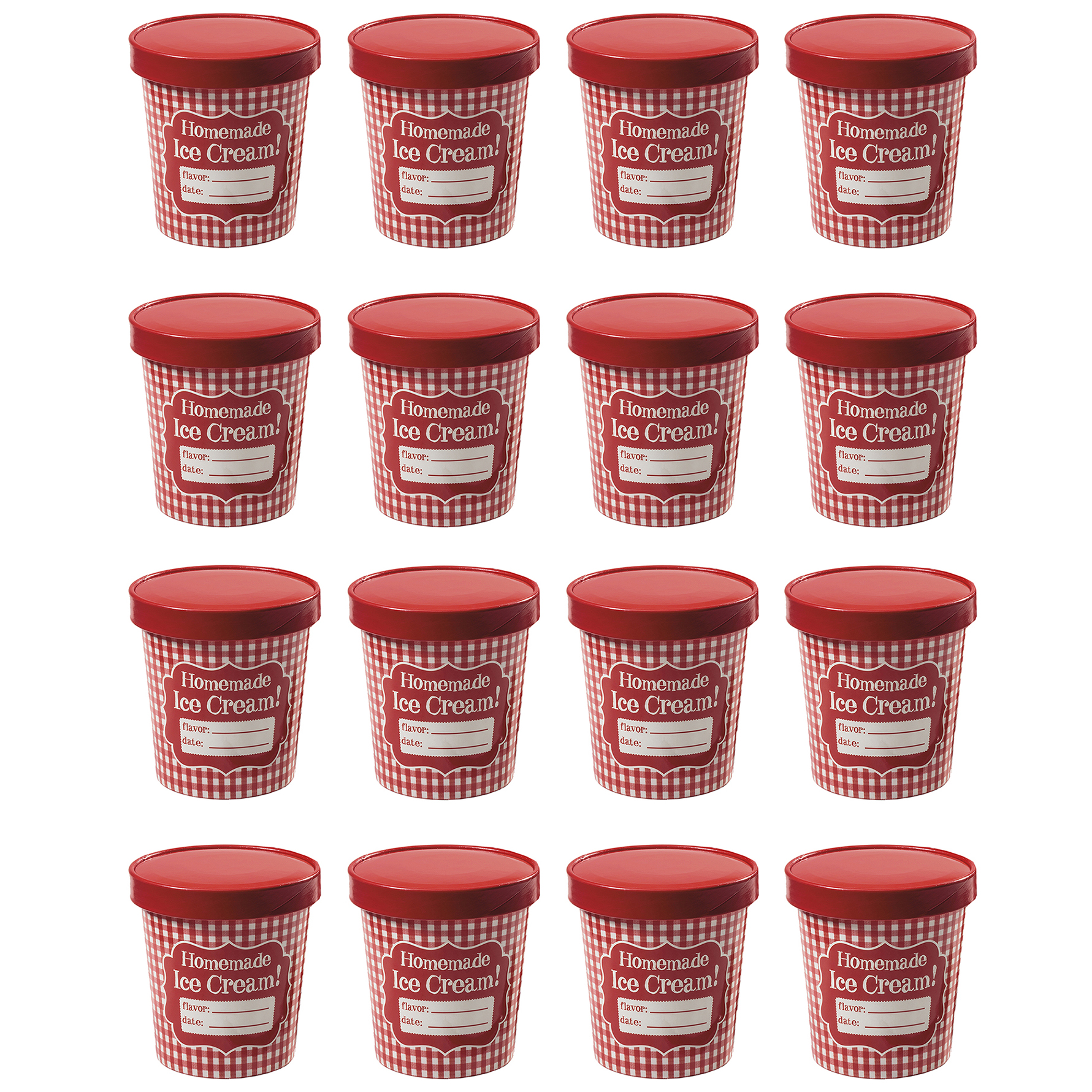 Hamilton Beach Homemade Ice Cream 1 Pint Storage Tubs and Lids, Red (16 Pack)