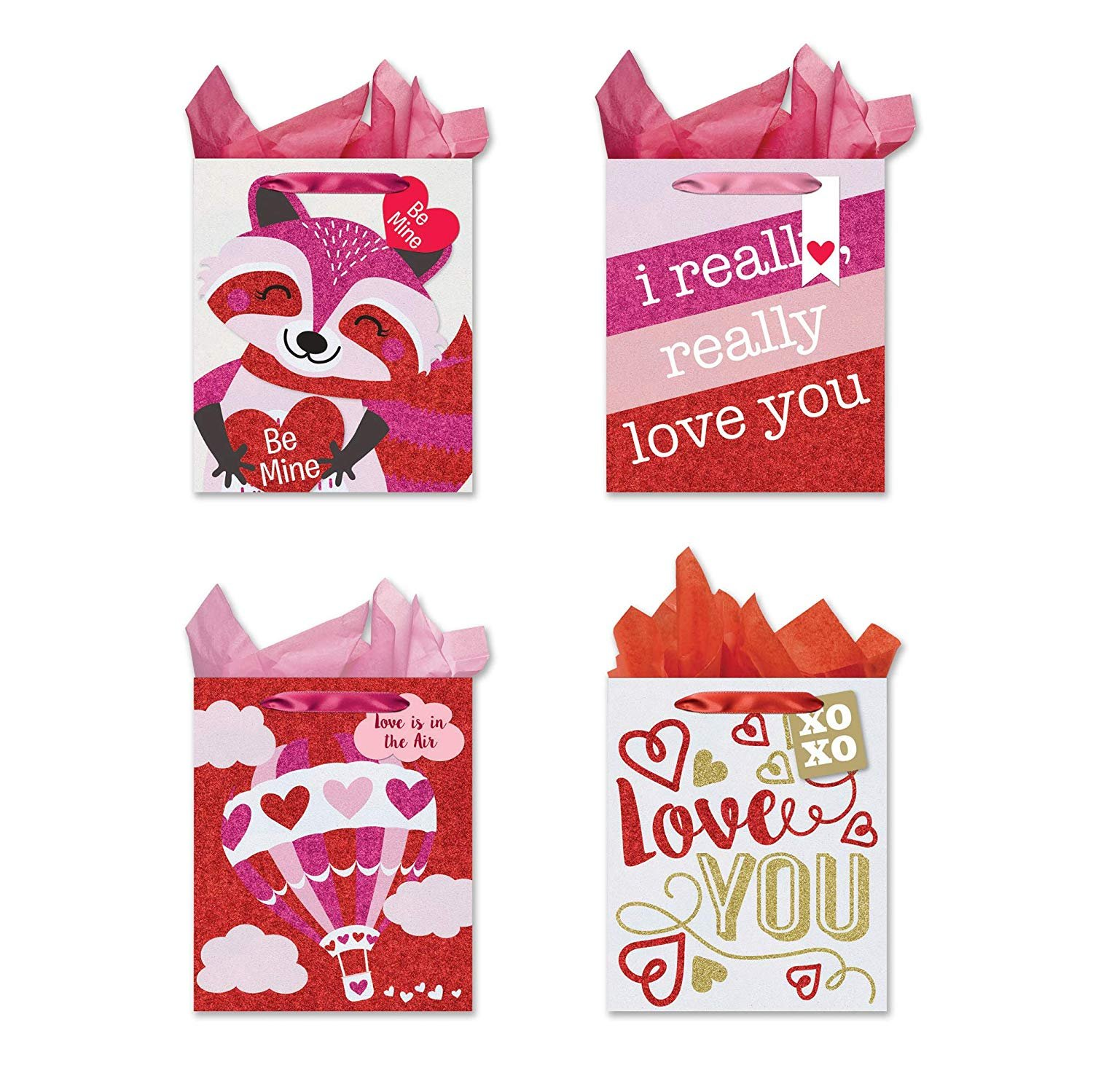 B-THERE Bundle of 4 Valentine's Day Tri-Glitter Gift Bags, Large. Valentine Gift Supplies, Tissue Paper Included.