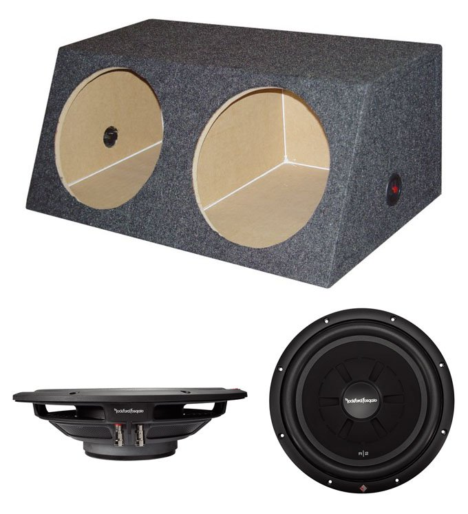 "2) Rockford Fosgate R2SD2-12 12"" R2 1000W Shallow Subwoofers + Dual Angled Box"