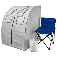Durasage Oversized Portable Steam Sauna Spa - Relaxation at Home - 60 Minute Timer - 800 Watt Steam Generator - Chair Included - Large - Silver