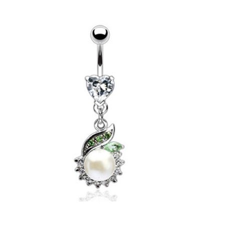 Heart Gem Navel Ring With Jeweled Dangle And Large -