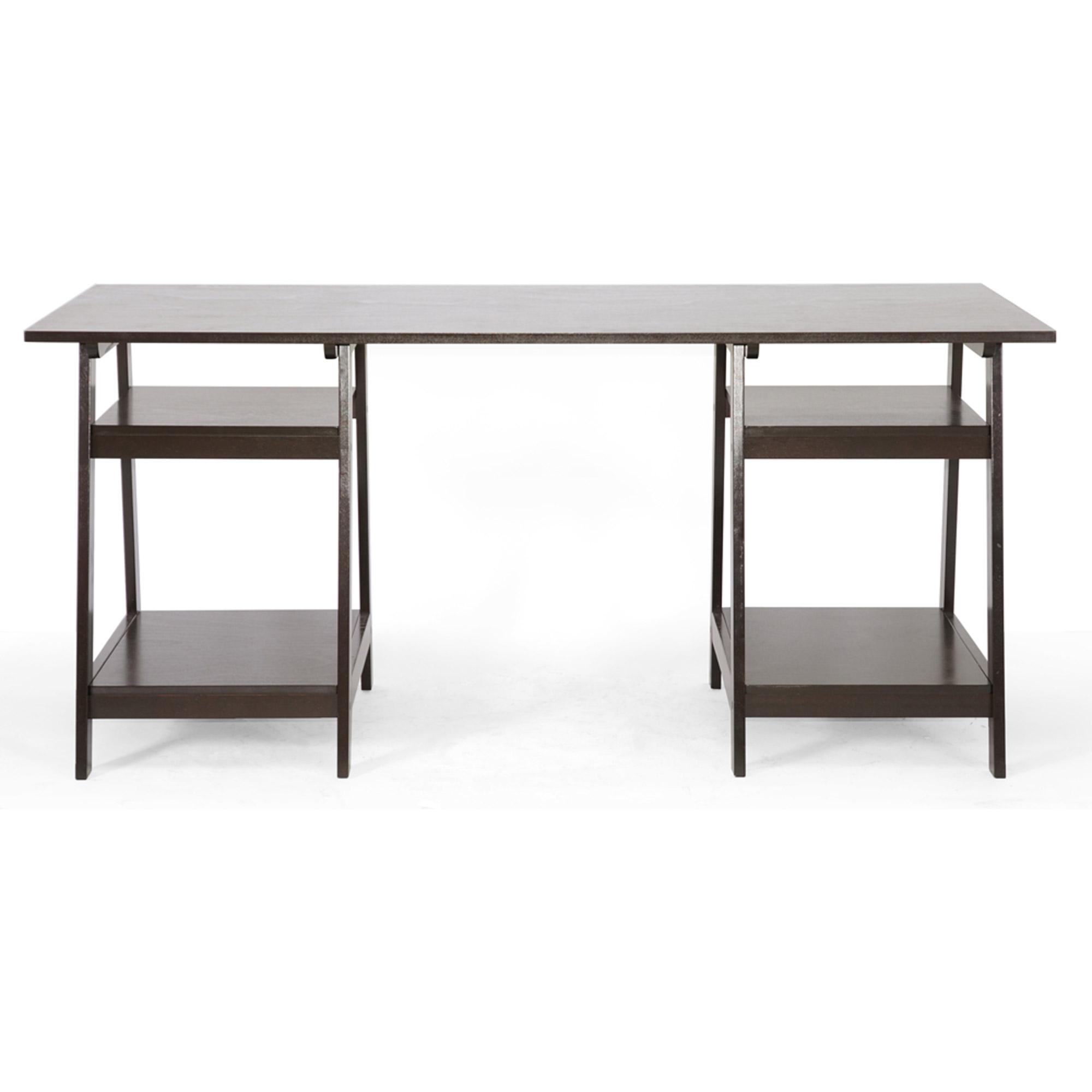 Large Modern Desk Mott Dark Brown Wood Modern Desk With Sawhorse Legs Large