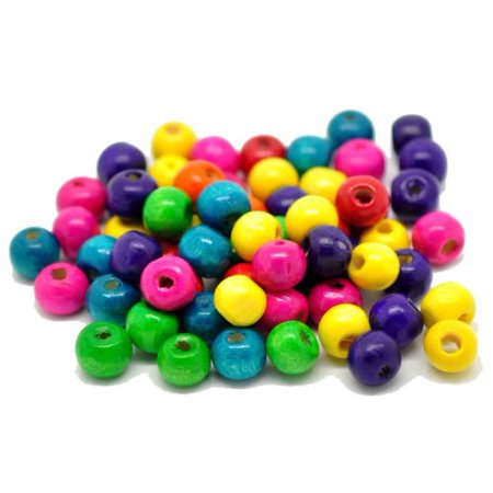 1000 Mixed Color Painted Wood Round Spacer, Loose Beads, 8x6mm (3/8