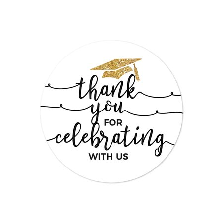 Stickers Wholesale (White and Gold Glittering Graduation, Round Circle Label Stickers, Thank You for Celebrating with Us,)