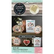 3 Birds Wood Bridal Trend Pack Cross Stitch Kit, 18 Piece