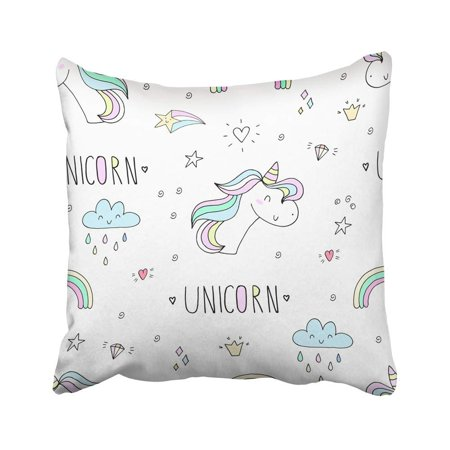 CMFUN Pink Bedroom Cute Unicorn Pattern Dream Pegasus Rainbow Abstract Animal Baby Pillow Case Pillow Cover 20x20 inch Throw Pillow Covers - Rainbow Pegasus