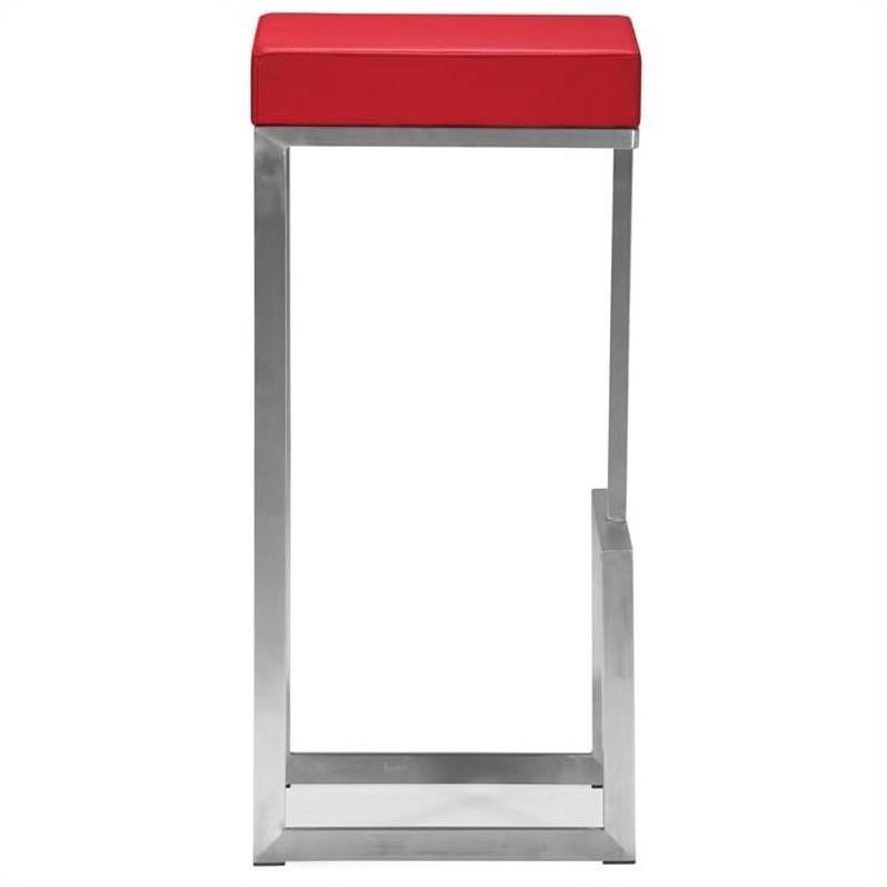 Zuo Darwen Modern Leatherette Bar Chair In Red Set Of 2