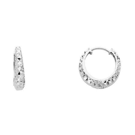 0.5' Hoop Huggie Earrings - Fancy Huggie Hoop Earrings Solid 14k White Gold Round Graduated Huggies Diamond Cut Small 15 x 3 mm