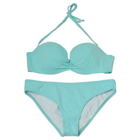 Pixie Pier Women's Light Blue Solid Bandeau Halter 2 Pc Bikini -