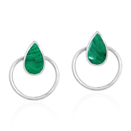 Malachite White Earrings (Cute Teardrops Green Malachite Stone Inlay Sterling Silver Circle Stud Earrings)