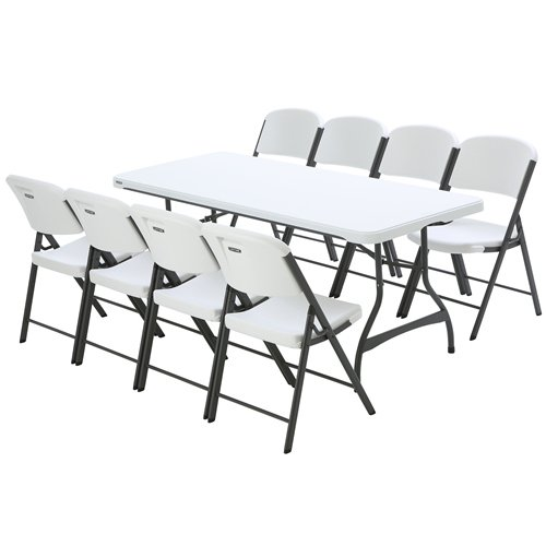 6ft Table With 6 Chairs: Lifetime 6-Foot Nesting Table, White Granite